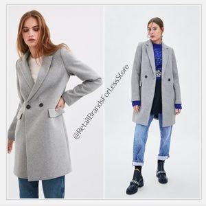 ZARA  Double Breasted Botton Wool Masculine Coat